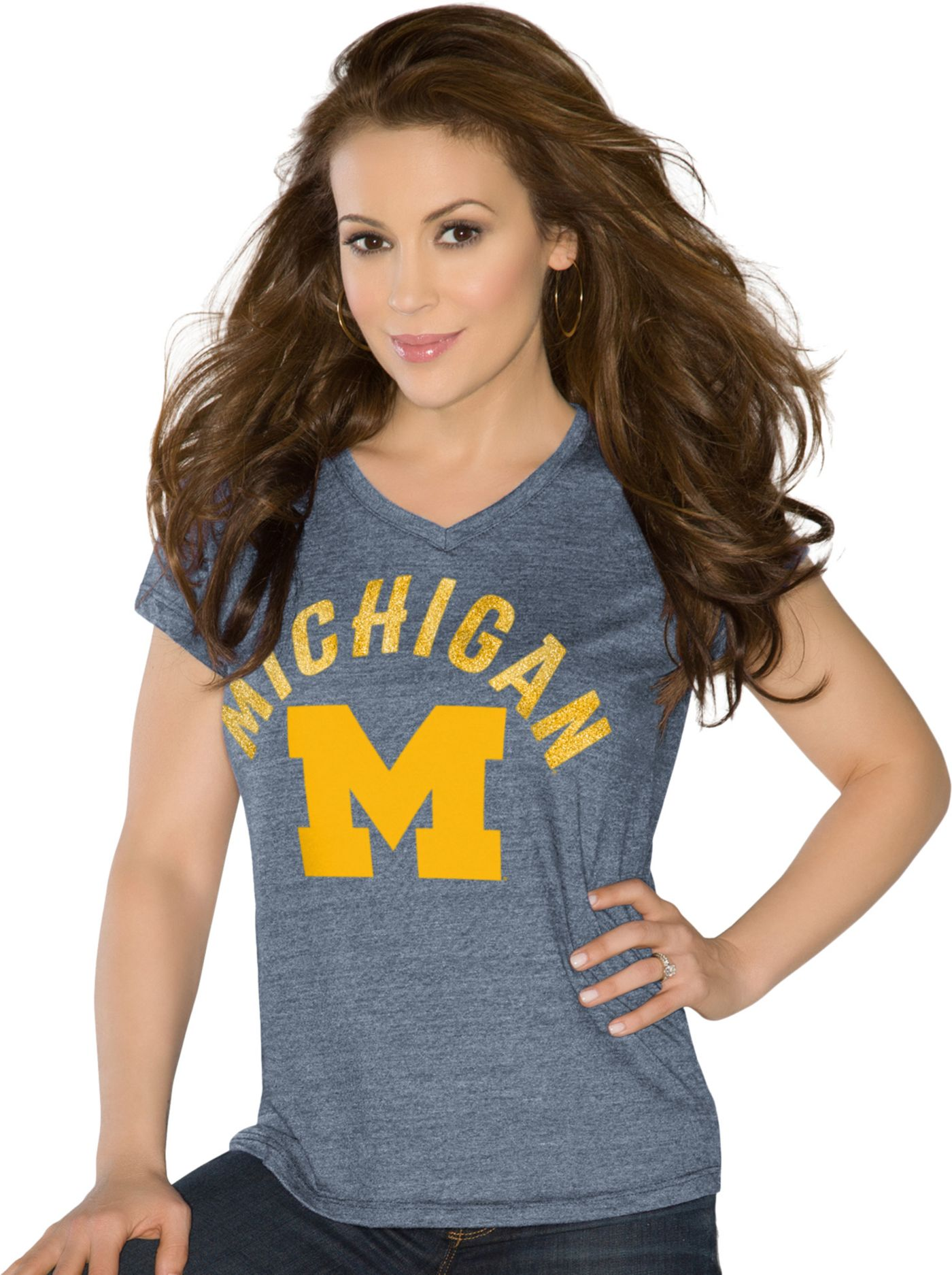 Touch by Alyssa Milano Women's Michigan Wolverines Blue Sparkle V-Neck T-Shirt
