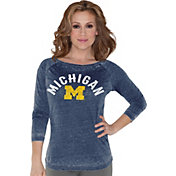 Touch by Alyssa Milano Women's Michigan Wolverines Blue 3/4 Sleeve Shirt