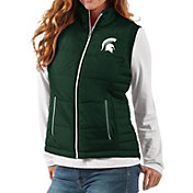 G-III For Her Women's Michigan State Spartans Green First Down Polyfill Vest