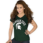 Touch by Alyssa Milano Women's Michigan State Spartans Green Sparkle V-Neck T-Shirt