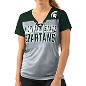 G-III For Her Women's Michigan State Spartans Grey Shake Down V-Neck Top
