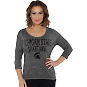 Touch by Alyssa Milano Women's Michigan State Spartans Grey Fair Catch 3/4 Sleeve Shirt