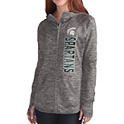 G-III For Her Women's Michigan State Spartans Grey Defender Full-Zip Hoodie