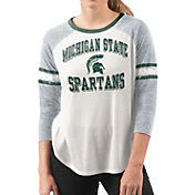 G-III For Her Women's Michigan State Spartans White/Grey Backfield Raglan 3/4 Sleeve Shirt