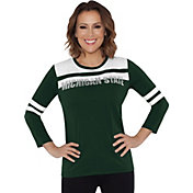 Touch by Alyssa Milano Women's Michigan State Spartans White/Green Offside 3/4 Sleeve Shirt