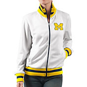 G-III For Her Women's Michigan Wolverines Field Goal White Track Jacket