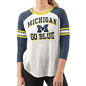 G-III For Her Women's Michigan Wolverines White/Blue Backfield Raglan 3/4 Sleeve Shirt