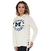 Touch by Alyssa Milano Women's Michigan Wolverines Weekend Raglan White Pullover Hoodie