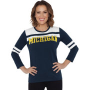 Touch by Alyssa Milano Women's Michigan Wolverines White/Blue Offside 3/4 Sleeve Shirt