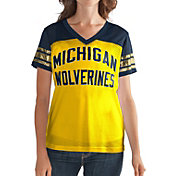 G-III For Her Women's Michigan Wolverines Fan Club Maize/Blue Mesh V-Neck Top