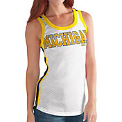 G-III For Her Women's Michigan Wolverines White/Blue Touchback Tank Top