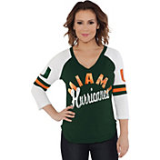 Touch by Alyssa Milano Women's Miami Hurricanes Green Reflex Raglan 3/4 Sleeve Shirt