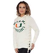 Touch by Alyssa Milano Women's Miami Hurricanes Weekend Raglan White Pullover Hoodie