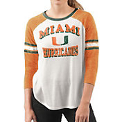 G-III For Her Women's Miami Hurricanes White/Orange Backfield Raglan 3/4 Sleeve Shirt