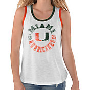 G-III For Her Women's Miami Hurricanes Reverse Standing White Tank Top
