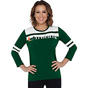 Touch by Alyssa Milano Women's Miami Hurricanes White/Green Offside 3/4 Sleeve Shirt