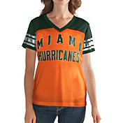 G-III For Her Women's Miami Hurricanes Fan Club Orange/Green Mesh V-Neck Top