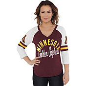 Touch by Alyssa Milano Women's Minnesota Golden Gophers Maroon Reflex Raglan 3/4 Sleeve Shirt