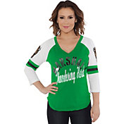 Touch by Alyssa Milano Women's Marshall Thundering Herd Green Reflex Raglan 3/4 Sleeve Shirt