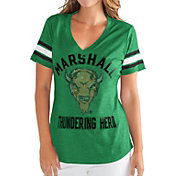 G-III For Her Women's Marshall Thundering Herd Green Wildcard V-Neck T-Shirt