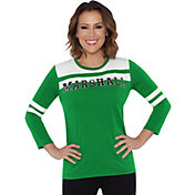 Touch by Alyssa Milano Women's Marshall Thundering Herd White/Green Offside 3/4 Sleeve Shirt