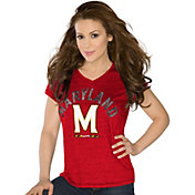Touch by Alyssa Milano Women's Maryland Terrapins Red Sparkle V-Neck T-Shirt