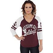 Touch by Alyssa Milano Women's Mississippi State Bulldogs Maroon Reflex Raglan 3/4 Sleeve Shirt