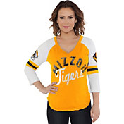 Touch by Alyssa Milano Women's Missouri Tigers Reflex Black Raglan 3/4 Sleeve Shirt