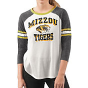 G-III For Her Women's Missouri Tigers White/Black Backfield Raglan 3/4 Sleeve Shirt