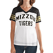 G-III For Her Women's Missouri Tigers Fan Club White/Black Mesh V-Neck Top