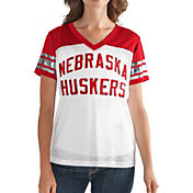 G-III For Her Women's Nebraska Cornhuskers Fan Club White/Scarlet Mesh V-Neck Top