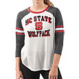 G-III For Her Women's NC State Wolfpack White/Black Backfield Raglan 3/4 Sleeve Shirt