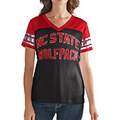 G-III For Her Women's NC State Wolfpack Fan Club Black/Red Mesh V-Neck Top