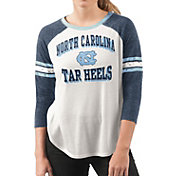 G-III For Her Women's North Carolina Tar Heels White/Navy Backfield Raglan 3/4 Sleeve Shirt