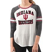 G-III For Her Women's Indiana Hoosiers White/Black Backfield Raglan 3/4 Sleeve Shirt