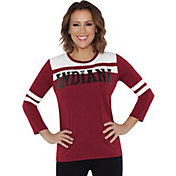 Touch by Alyssa Milano Women's Indiana Hoosiers White/Crimson Offside 3/4 Sleeve Shirt