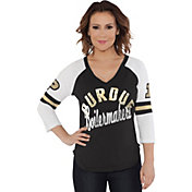 Touch by Alyssa Milano Women's Purdue Boilermakers Reflex Black Raglan 3/4 Sleeve Shirt