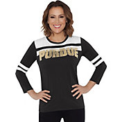 Touch by Alyssa Milano Women's Purdue Boilermakers White/Black Offside 3/4 Sleeve Shirt