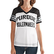 G-III For Her Women's Purdue Boilermakers Fan Club White/Black Mesh V-Neck Top
