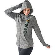 G-III For Her Women's Oregon Ducks Grey Defender Full-Zip Hoodie