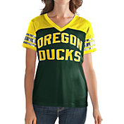 G-III For Her Women's Oregon Ducks Fan Club Green/Yellow Mesh V-Neck Top