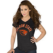 Touch by Alyssa Milano Women's Oregon State Beavers Sparkle Black V-Neck T-Shirt