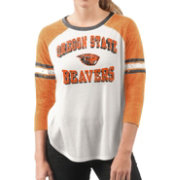 G-III For Her Women's Oregon State Beavers White/Orange Backfield Raglan 3/4 Sleeve Shirt