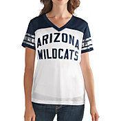 G-III For Her Women's Arizona Wildcats Fan Club White/Navy Mesh V-Neck Top