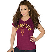 Touch by Alyssa Milano Women's Arizona State Sun Devils Maroon Sparkle V-Neck T-Shirt