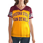G-III For Her Women's Arizona State Sun Devils Fan Club Gold/Maroon Mesh V-Neck Top