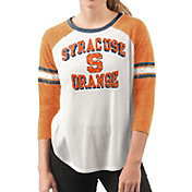 G-III For Her Women's Syracuse Orange White/Orange Backfield Raglan 3/4 Sleeve Shirt