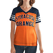 G-III For Her Women's Syracuse Orange Fan Club Orange/Blue Mesh V-Neck Top