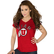Touch by Alyssa Milano Women's Utah Utes Crimson Sparkle V-Neck T-Shirt