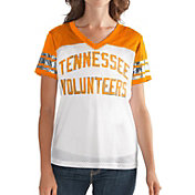 G-III For Her Women's Tennessee Volunteers Fan Club White/Tennessee Orange Mesh V-Neck Top